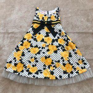 Ashley Ann Toddler Girls Yellow Rose Floral Dress